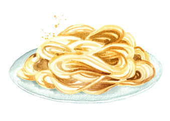 Spaghetti on the plate. Watercolor hand drawn illustration isolated on white background