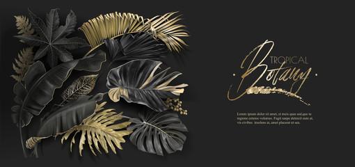 Tropical leaves black and gold botany banner