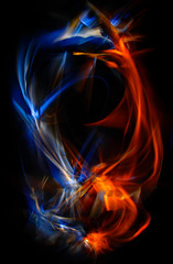 The abstract image painted by moving light and moving objects. Improvisational movements by light. Color abstraction.