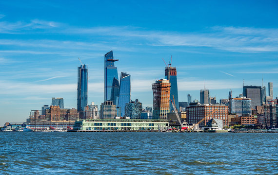 Cityscape of new skyscrapres in  Hudson Yards, New York.
