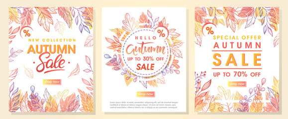 Autumn special offer banners with autumn leaves and floral elements in fall colors.Sale season card perfect for prints, flyers,banners, promotion,special offer and more. Vector autumn promotion..