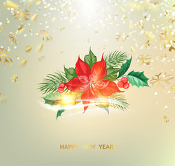 Fantasy christmas fir tree with poisettia flower and golden confetti on background. Vector illustration