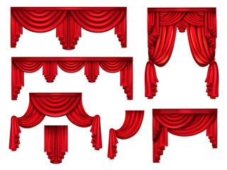 Stage red curtains, victorian silk drapes with crinkles realistic vector set isolated on white background. Interior design element, window dressing decoration collection. Premiere announcement frame