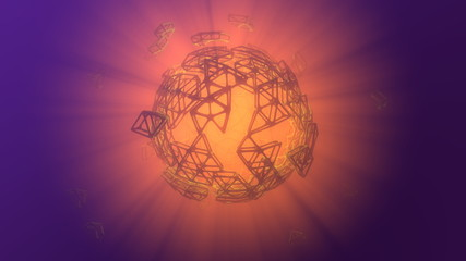 Abstract 3d rendering concept of high poly sphere with chaotic mesh grid cellular mulecular structure. Sci-fi background with polygonal shape in empty space with light god rays. Futuristic design bio