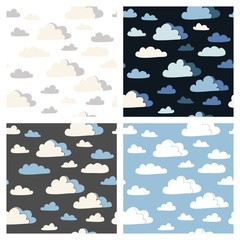 Set of seamless patterns with clouds in different colors.