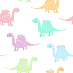 Seamless pattern with cute colorful dinosaurs on white background. Dino print for kids. Vector illustration.