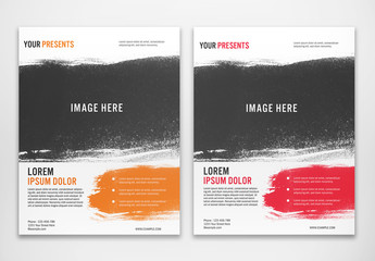 Flyer Layout with Brush Stroke Photo Element