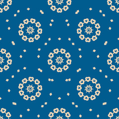 Seamless blue background with abstract oriental shapes like mandala or mehndie painting