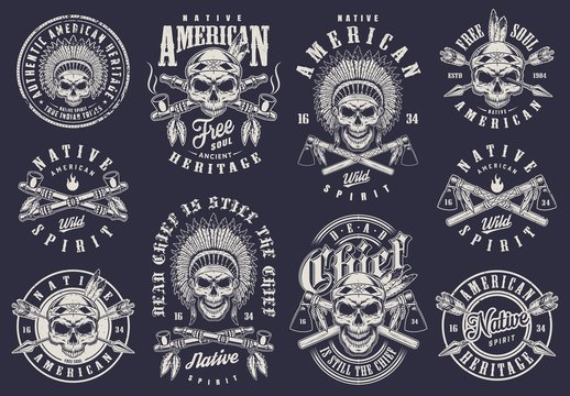 Vintage native american logos collection