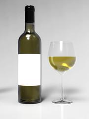 Bottle of white wine and wineglass. Mockup. 3d illustration.