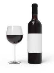 Wine bottle and wineglass isolated on white background. Mockup