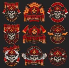 Vintage firefighting colorful emblems set