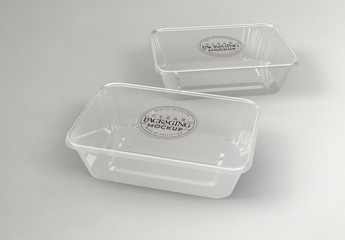 Clear Rectangular Containers Mockup