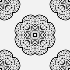 Ethnic zentangle  round element. Design with abstract unusual ethnic pattern. Tribal mandala. Symmetric ornament. Vector