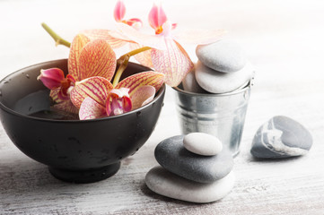Spa still life with pebbles and red orange orchid
