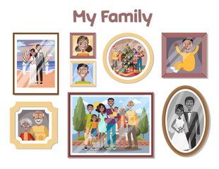 Gallery of family portraits in the frames