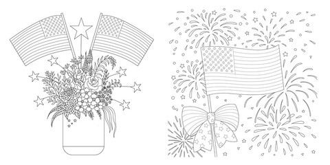 American Flags drawing set for coloring page, cards and so on. Vector illustration