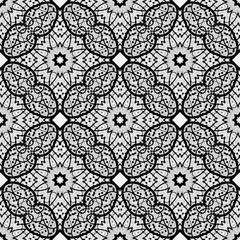 Black and white seamless pattern. Indian ornament,  flora pattern, mandala. range, circle, round, disk. abstract seamless pattern