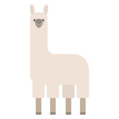 Cute llama drawing doodle. White wild animal