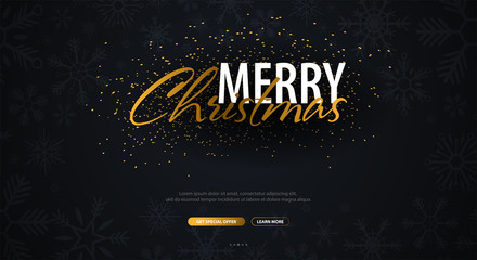 Merry Christmas typographical on dark background with snowflakes. Xmas card. Vector Illustration.