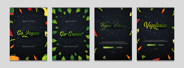 Set of Vegetarian banners. Hand-draw doodle background. Vector illustration.