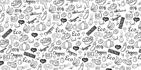 Vegetarian banner with Hand-draw doodle backgrounds. Vector illustration.