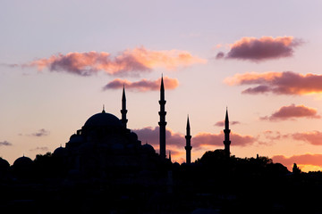mosque at sunset in istanbul