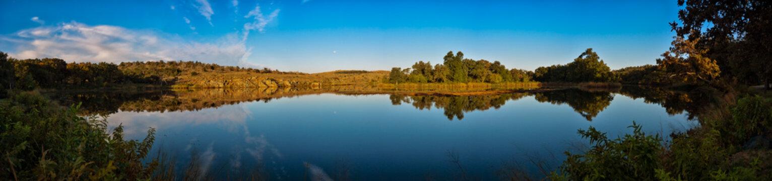 Lost lake panorama at wichita mountains wildlife refuge in oklahoma