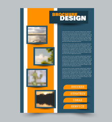 Blue  and yellow flyer design template with built in images. Brochure for business, education, presentation, advertisement. Corporate identity style concept. Editable vector illustration.