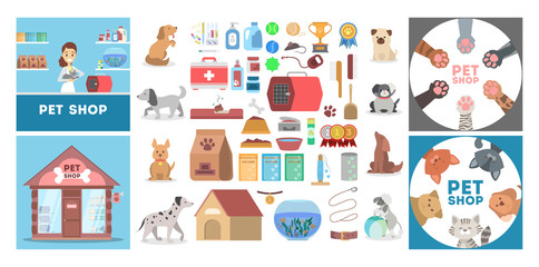 Pet shop set with different goods for animal