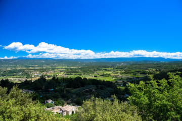 Panorama of the countryside of the Luberon as seen from the village of Oppede-le-Vieux in Provence, France