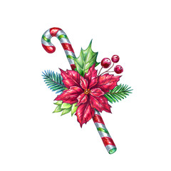 Christmas candy cane, decorated with red poinsettia flower, spruce, green leaf, berries, festive design element, holiday ornament, botanical decor, watercolor illustration isolated on white background