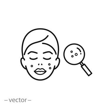 acne on skin icon, problem skin, dermatology linear sign on white background - editable vector illustration eps10