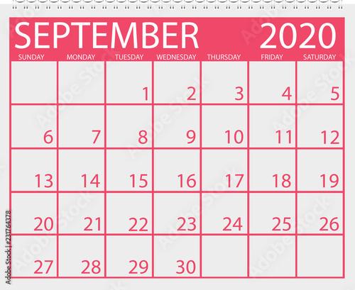 Vector De Calendario 2020.Calendar September 2020 Stock Image And Royalty Free Vector
