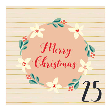 Advent calendar with hand drawn vector Christmas holiday illustration for December 25th. Mistletoe flower wreath. For poster, blog, banners, Christmas countdown. Part of my Advent calender collection