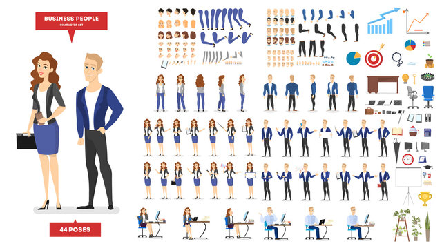 Businessman and woman character in suit set for animation.