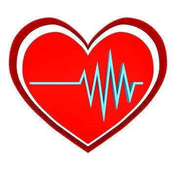 heart rhythm logo. pulse simbol - 3D render