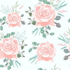 Seamless pattern with beige roses with herbs and eucalyptus. Hand drawn background. Floral pattern for wallpaper or fabric. Mint background.