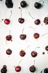 Roasted Cherries on Parchment Paper