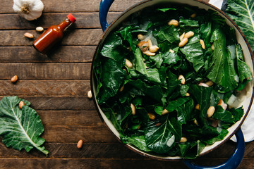 Collard greens with peanuts and hot sauce