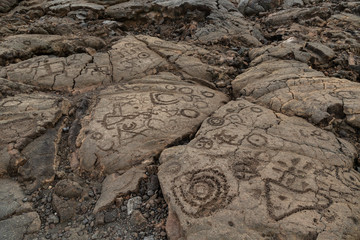 """Petroglyphs in Waikoloa Field, on the King's Trail (""""Mamalahoa""""), near Kona on the Big Island of Hawaii. Carved into volcanic rock, the earliest of these carvings are more than a century old."""