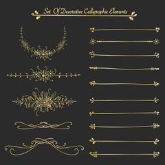 Set Of Golden Decorative Calligraphic Elements For Decoration. Handmade Vector Illustration.