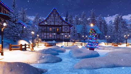 Wall Mural - Peaceful winter scenery - snow covered alpine village high in mountains with illuminated half-timbered houses and decorated Christmas tree at snowfall night. Festive 3D animation for rendered in 4K
