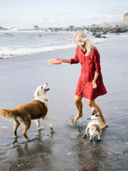 Woman playing with two dogs on beach
