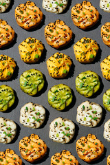 Bao dumplings on gray background