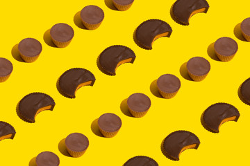 Abstract Peanut Butter Cup Pattern on Yellow