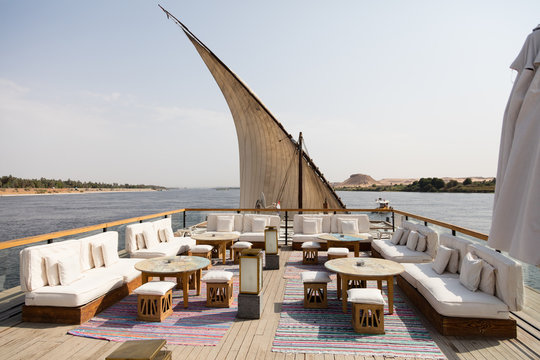 A relaxing area on a boat