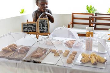 Platter of backed snacks