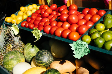 Fresh fruits and vegetables on counter