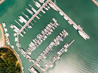 Aerial shot of moored boats and yachts